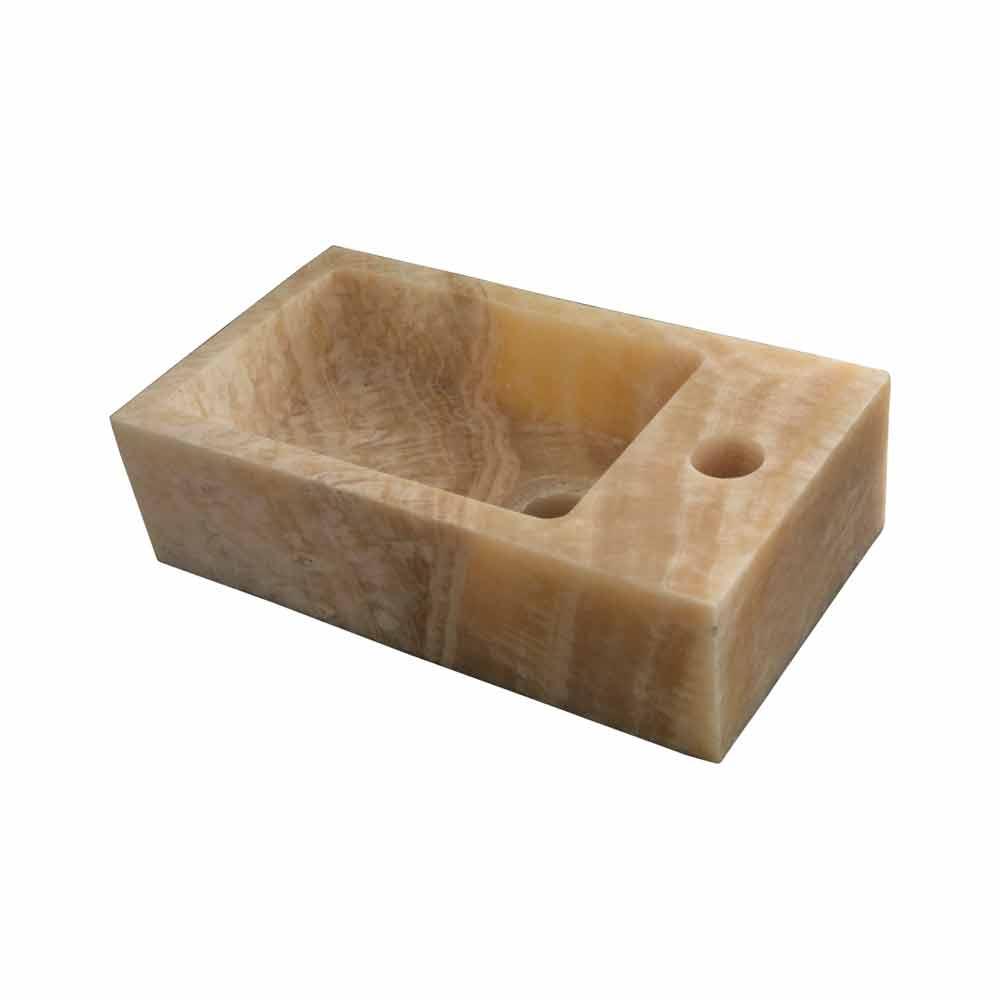 Lavabo moderno rectangular sobre encimera de nice bintan for Lavabo sobre encimera rectangular