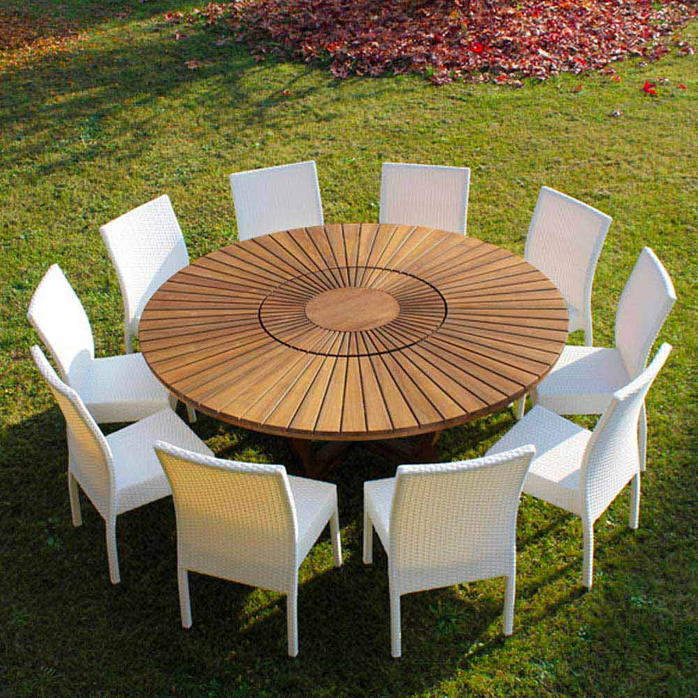 Mesa redonda de exterior de madera de teca maciza real table - Mesa redonda exterior ...