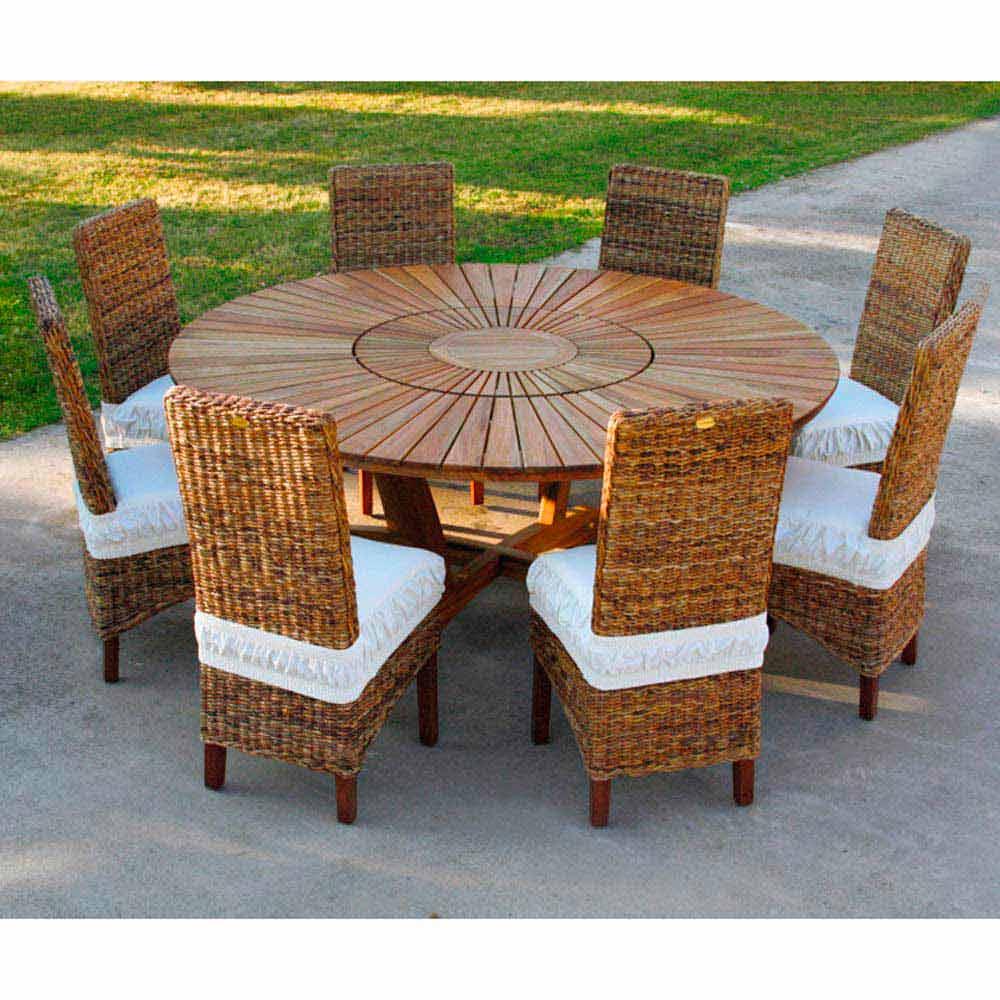 Mesa redonda de exterior de madera de teca maciza real table - Mesas de teca exterior ...