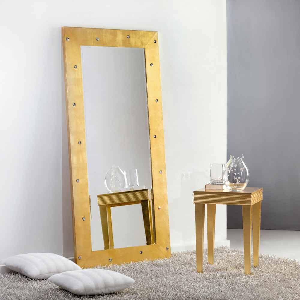 Gran espejo suelo pared con cristales swarovski vivien for Specchio girevole da terra
