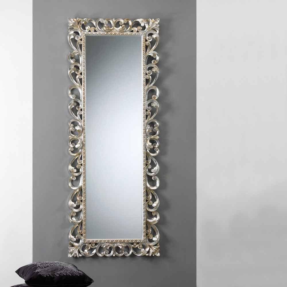 Gran espejo de pared vertical con marco decorado París
