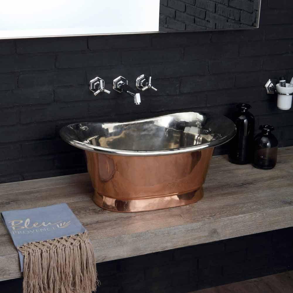 Lavabo sobre encimera de cobre y hierro blanco modelo cala - Vasca da bagno da appoggio ...
