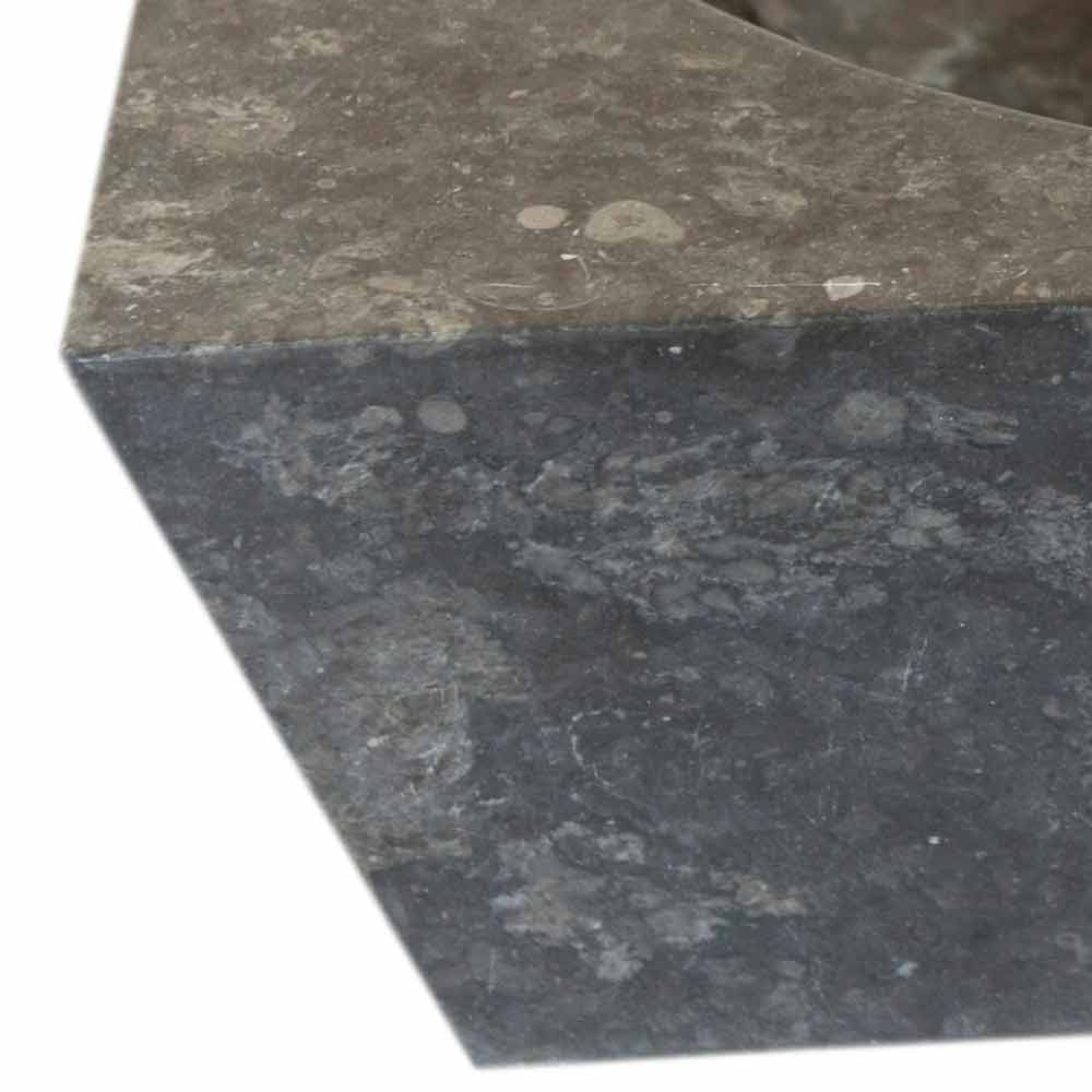 Lavabo sobre encimera cuadrado de piedra natural gris jiny - Encimera piedra ...