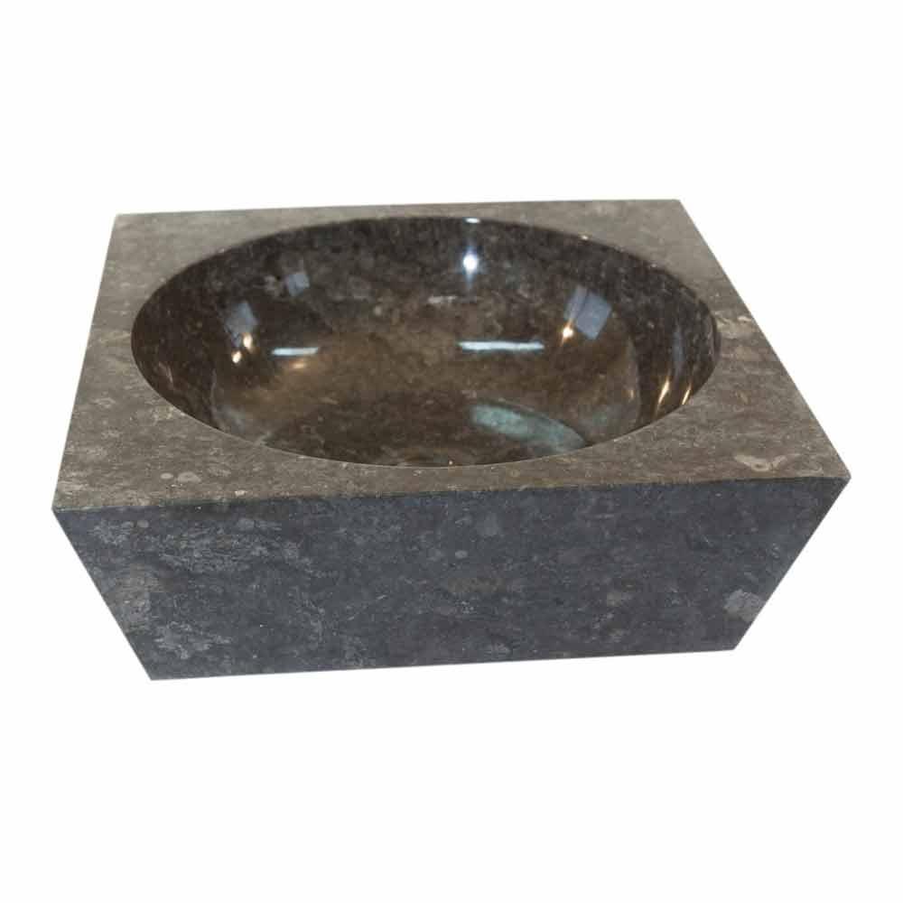 Lavabo sobre encimera cuadrado de piedra natural gris jiny for Lavabo sobre encimera piedra