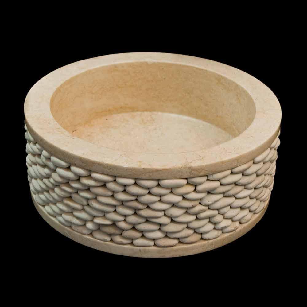 Lavabo sobre encimera redondo de piedra natural blanca alma - Encimeras de piedra natural ...