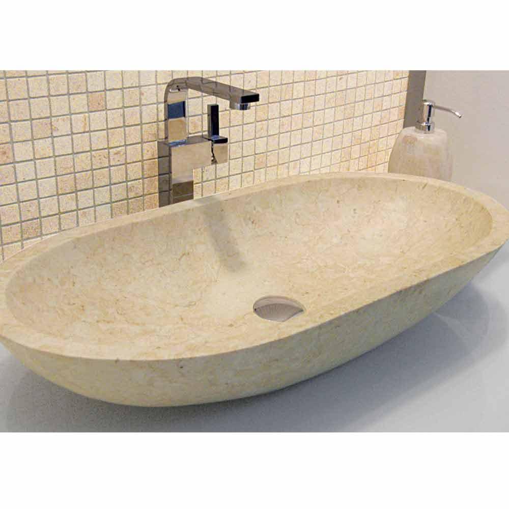 Lavabo de dise o sobre encimera de piedra natural riau for Lavabo sobre encimera piedra