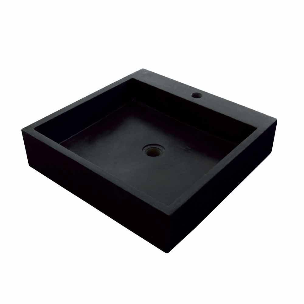 Lavabo cuadrado moderno sobre encimera de basalto negro ban for Lavabo cuadrado