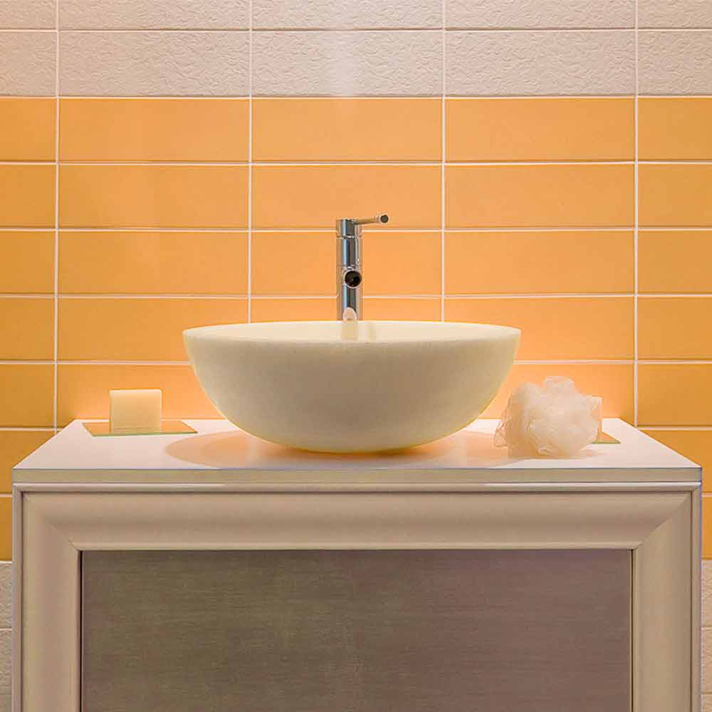 Moderno lavabo sobre encimera beige con acabado liso nusa - Lavabos redondos sobre encimera ...