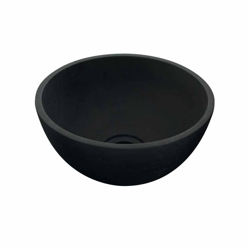 original lavabo redondo sobre encimera de basalto negro kali. Black Bedroom Furniture Sets. Home Design Ideas