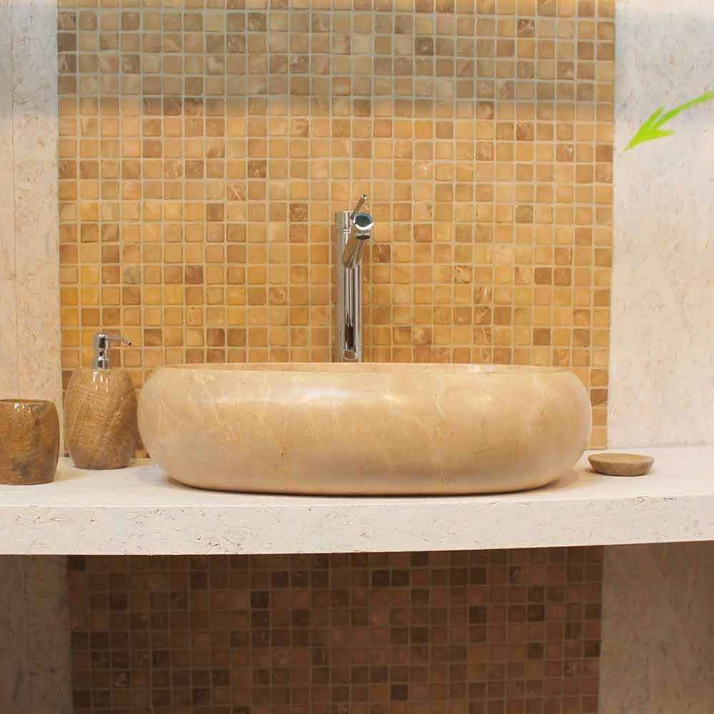 Econ mico lavabo oval sobre encimera de m rmol crema waka - Encimeras de piedra natural ...