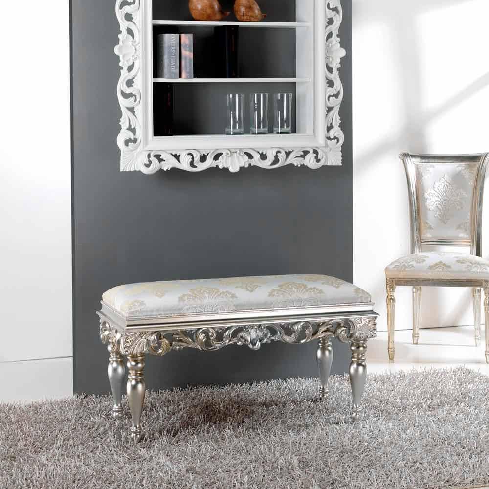Puf de noche diseño clásico con acabado en plata Zorn