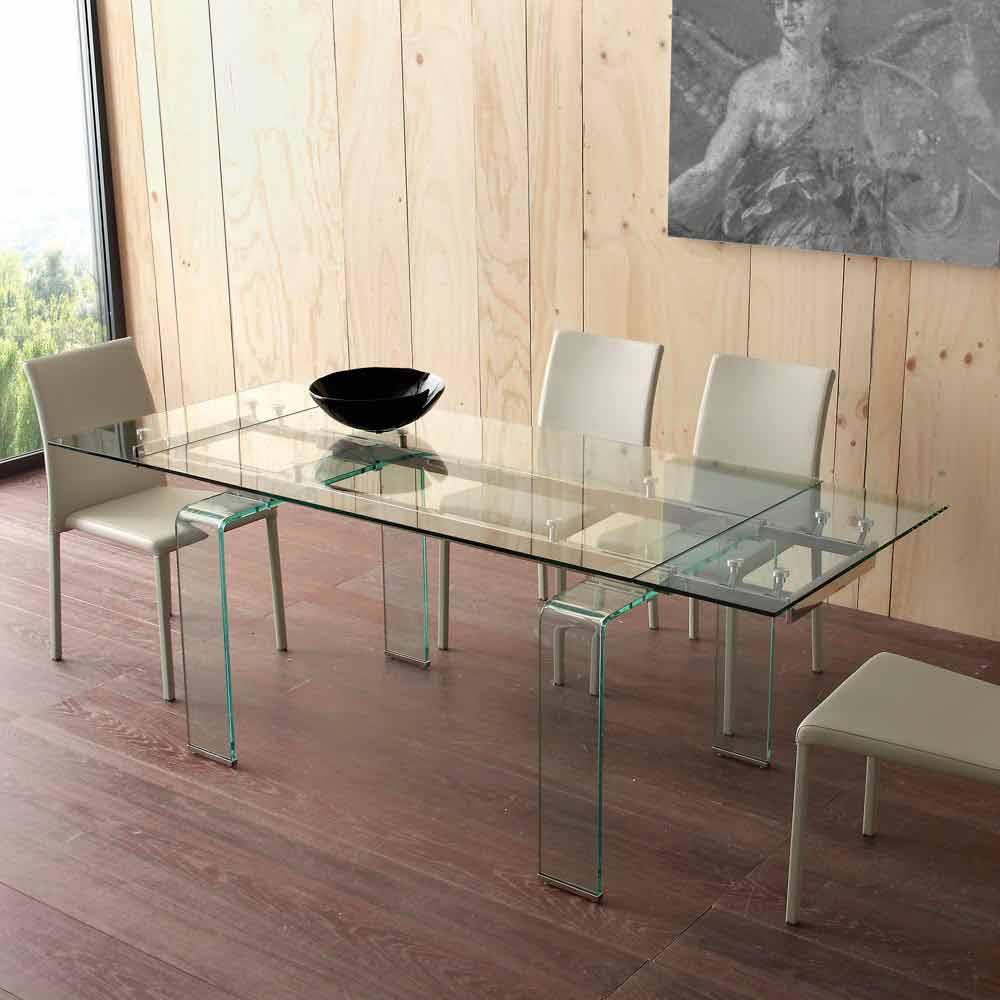 Mesa extensible moderna con tablero de vidrio templado for Vidrio templado mesa