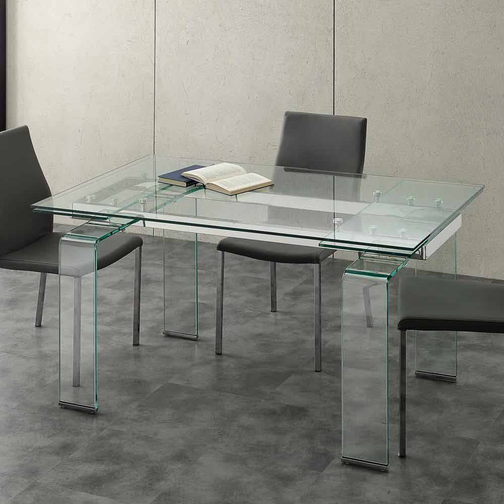 Mesa extensible moderna con tablero de vidrio templado - Mesa cristal templado ...