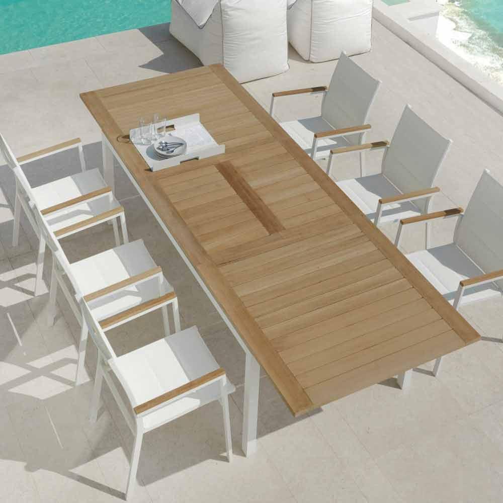 Mesa de comedor extensible de jardín de madera de teca modelo Timber