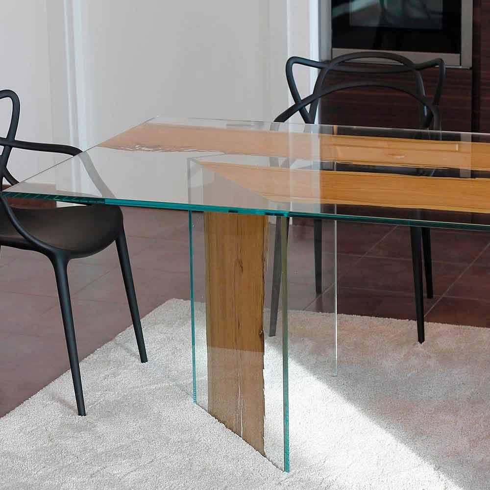 Mesa rectangular de madera de briccola de Venecia y cristal San Marco