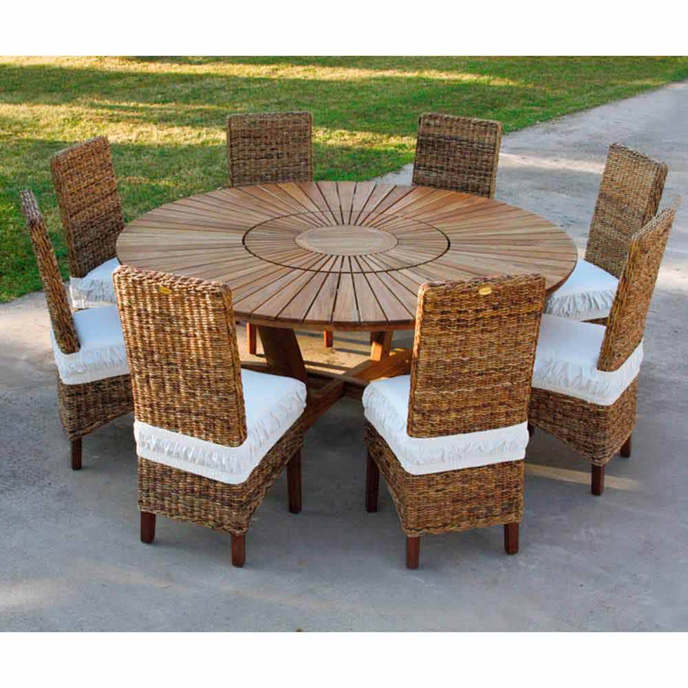 Mesa redonda de madera teca para interiores y exteriores - Mesa redonda exterior ...