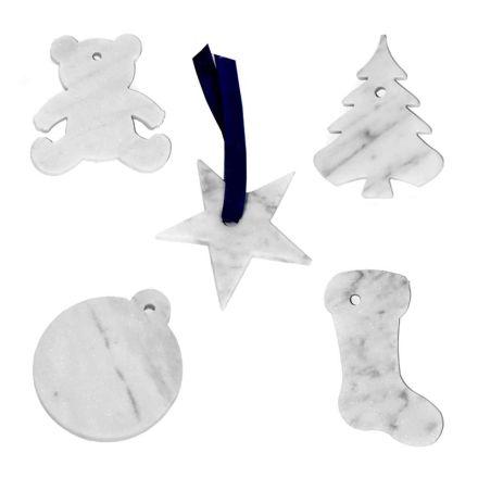 10 decoraciones para árboles de Navidad en mármol blanco de Carrara Diseño de lujo - Decoraciones