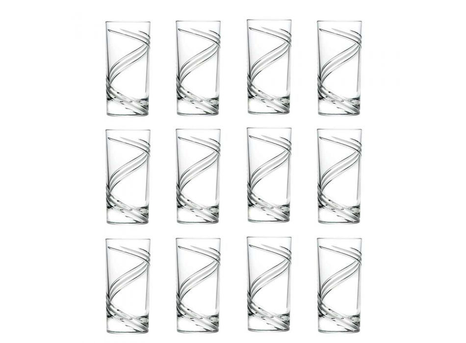 12 vasos de cóctel de vaso alto de cristal ecológico italiano - Cyclone