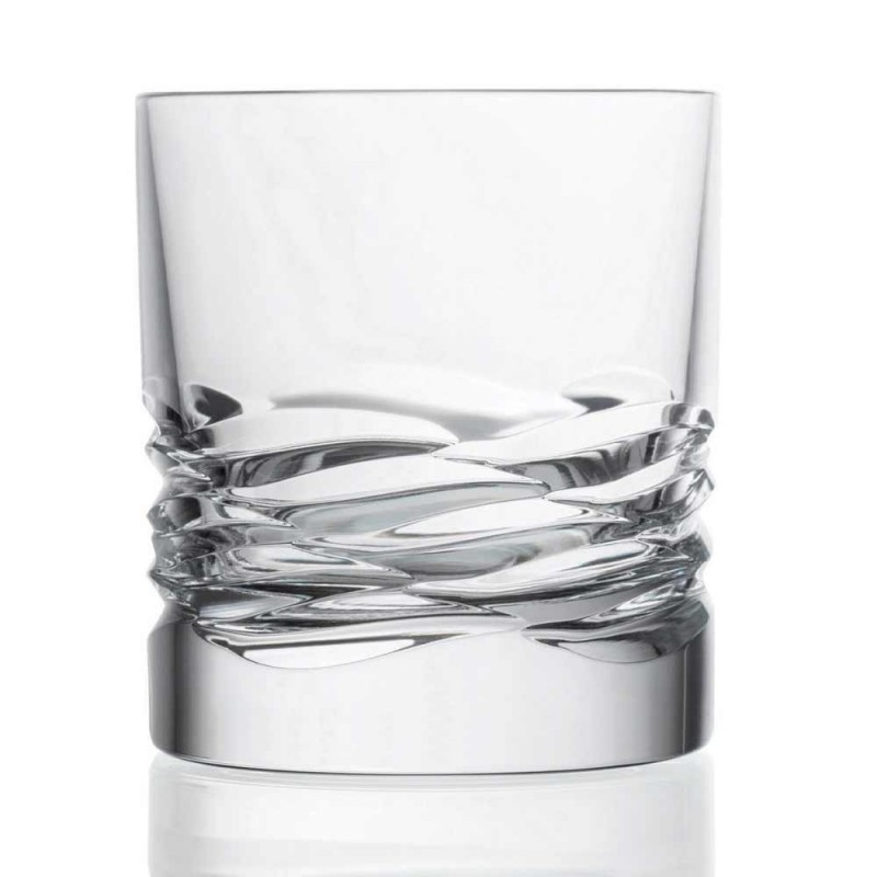 12 vasos de cristal con decoración ondulada para whisky o vaso de agua Dof - Titanio