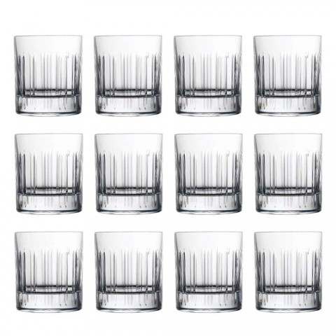 12 vasos de agua de whisky o de cristal con decoración lineal de lujo - Arritmia