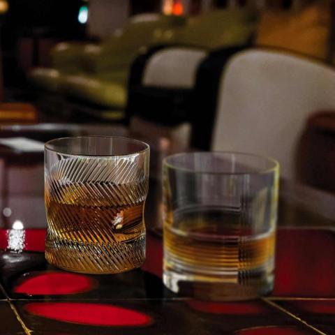 12 vasos de whisky o de agua en diseño vintage decorado con cristales ecológicos - táctiles