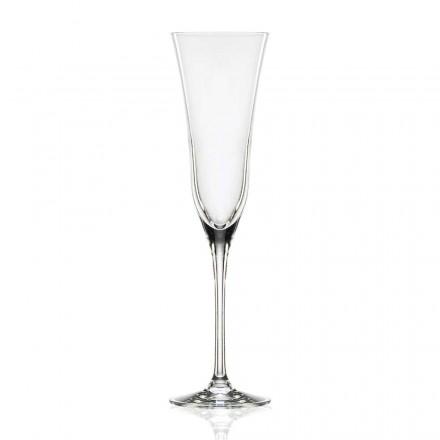12 copas de flauta en cristal de lujo ecológico, diseño minimalista - liso