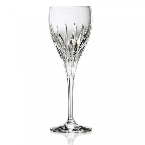 12 copas de vino blanco decoradas a mano en cristal de lujo ecológico - Voglia