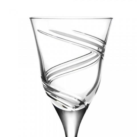 12 Copas para Vino Blanco en Cristal Ecológico Decorado y Satinado - Ciclón
