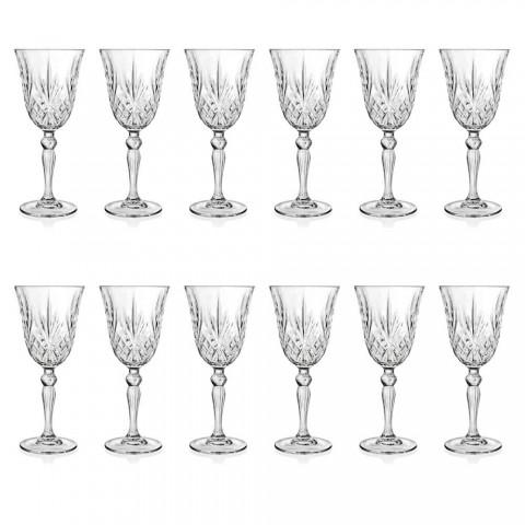 12 Copas de Vino, Agua, Cóctel en Cristal Ecológico Estilo Vintage - Cantabile