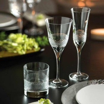 12 Copas de Vino Blanco en Cristal Ecológico Diseño Decorado de Lujo - Milito