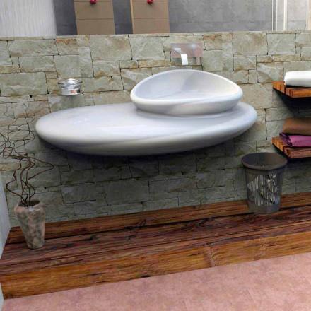 Lavabo suspendido con diseño moderno de piedra hecho en Italia.