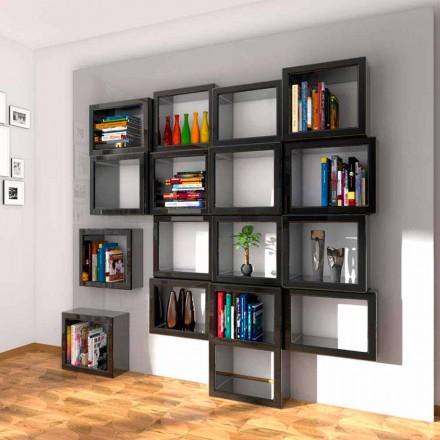 Librería de pared de diseño Fra011 Made in Italy