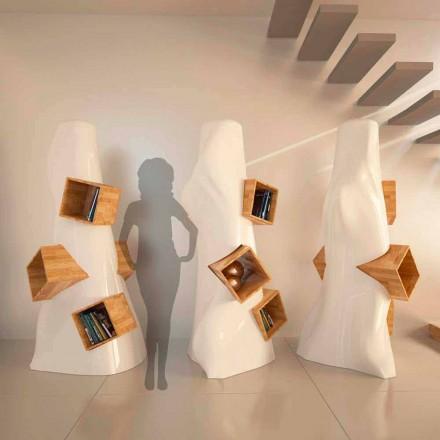Librería de diseño moderno en madera y K2 Solid Surface fabricada en Italia.