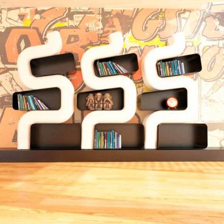 Librería contemporánea de diseño sólido Ser P made in Italy
