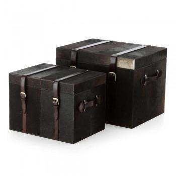 2 troncos de diseño potro marrón oscuro Ceskini, grandes y pequeños