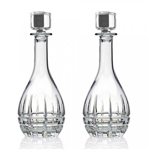 2 Botellas con Tapón de Vino Diseño Redondo en Cristal Decorado - Fiucco