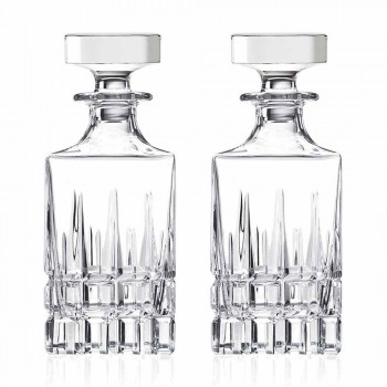 2 Botellas de Whisky con Tapa de Cristal Diseño Cuadrado con Tapa - Fiucco