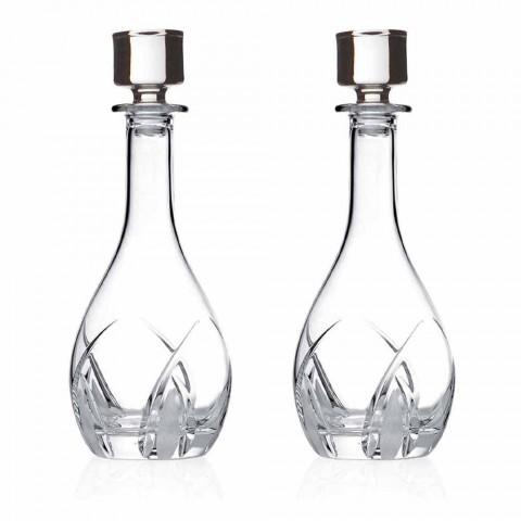 2 Botellas de Vino con Tapas Redondas de Diseño en Eco Crystal - Montecristo