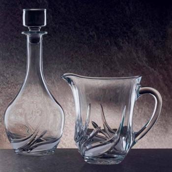 2 Jarras de agua en cristal ecológico con decoraciones de lujo Made in Italy - Adviento