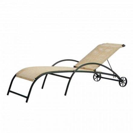 2 chaise longues apilables para exterior en metal y tela Made in Italy - Perlo