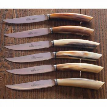2 cuchillos de carne con mango en cuerno de buey o madera Made in Italy - Marino