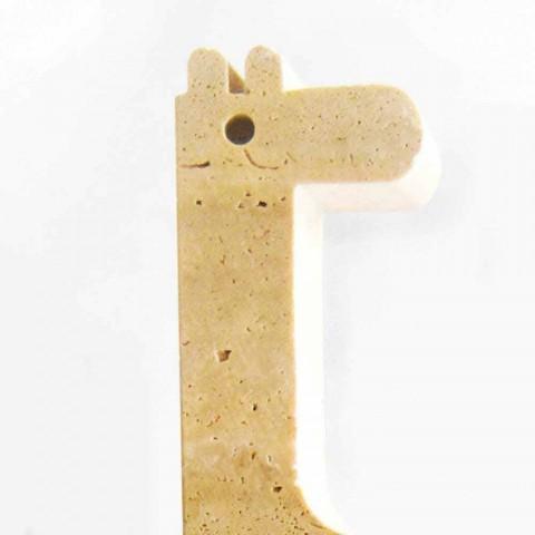 2 sujetalibros en mármol travertino en forma de jirafa Made in Italy - Morra