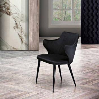 2 elegantes sillones de salón de tela de colores y metal negro - Duchess
