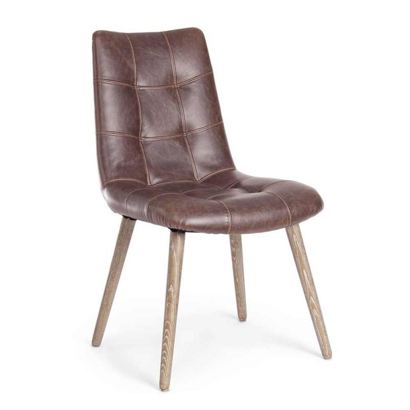 2 sillas modernas de estilo industrial cubiertas en polipiel Homemotion - Riella