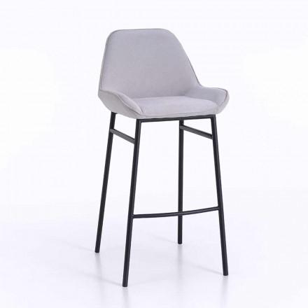 2 taburetes modernos de metal con asiento de microfibra o piel sintética - Bellino