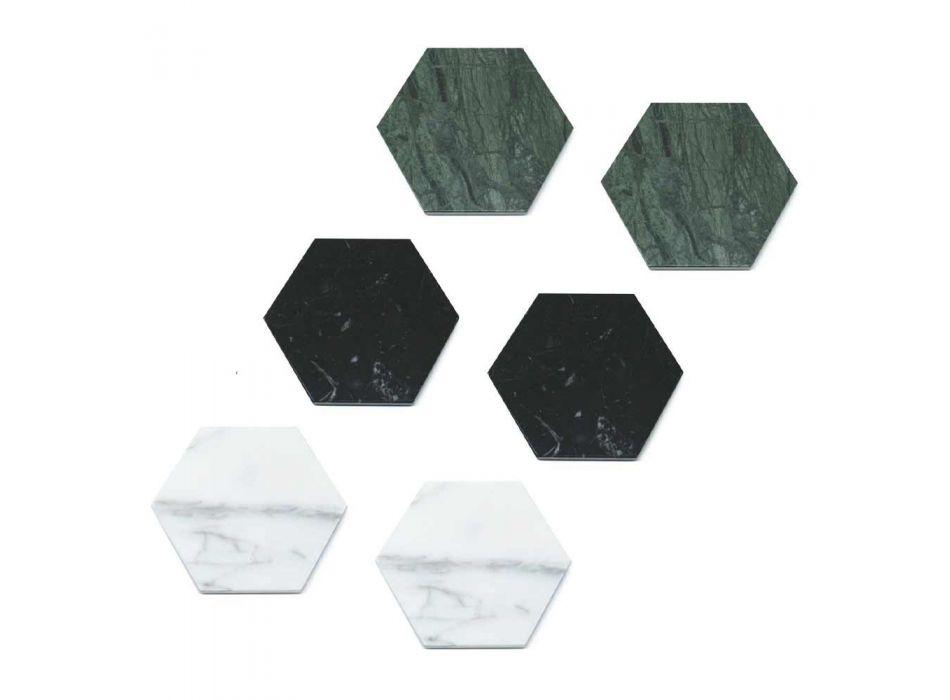 2 Posavasos Hexagonales en Mármol Blanco, Negro o Verde Hecho en Italia - Paulo