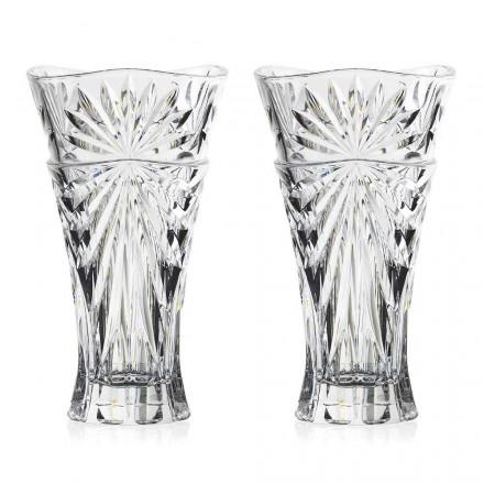 2 Jarrones de Decoración de Mesa en Cristal Ecológico de Diseño Único - Daniele