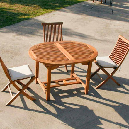 Mesa de jardín extensible de madera de teca modelo Lipari