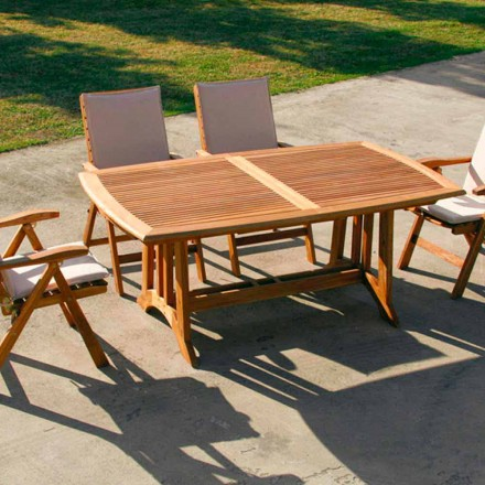 Mesa extensible de exterior de madera de teca modelo Amalfi