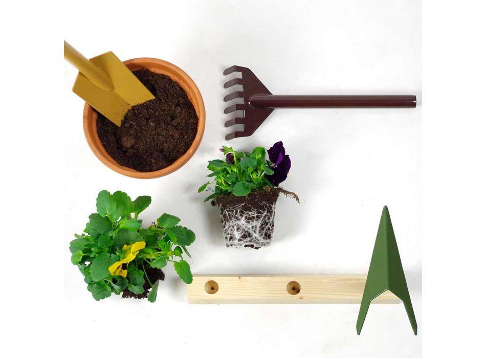 3 herramientas de jardinería de metal con base de madera Made in Italy - Jardín